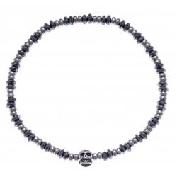 Bracelet acier pour homme - tête de mort -hématite - 21 cm