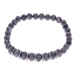 Bracelet acier pour homme - élastique - jaspe gris - 21 cm