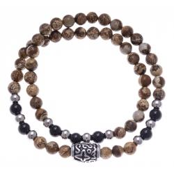 Bracelet acier pour homme - élastique - 2 tours - jaspe paysage - onyx - 41 cm