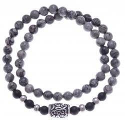 Bracelet acier pour homme - élastique - 2 tours - jaspe gris - onyx - 41 cm