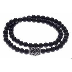 Bracelet acier pour homme - élastique - 2 tours - onyx - 41 cm