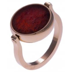 Bague en acier rosé - recto/verso - agate rouge - purple MATRIX - diamètre 14mm