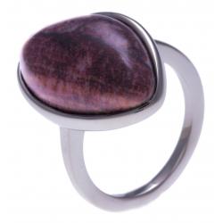 Bague en acier - jaspe rouge - dimension pierre : 22x15mm - T50 à 62