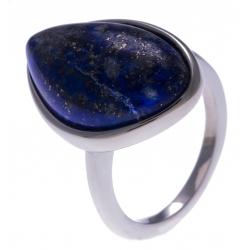 Bague en acier - lapis lazuli - dimension pierre : 22x15mm - T50 à 62