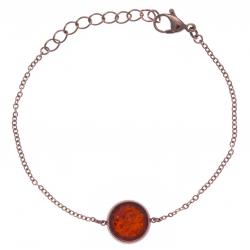 Bracelet en acier rosé - recto/verso - agate rouge - purple MATRIX - diamètre 14