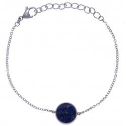 Bracelet en acier - recto/verso - lapis - onyx - diamètre 14mm - longueur 16+4cm
