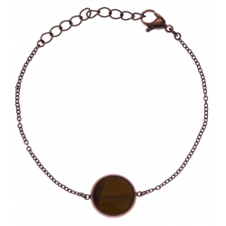 Bracelet en acier café - recto/verso - oeill de tigre - jaspe paysage - diamètre 1