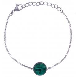 Bracelet en acier - recto/verso - malachite - amazonite - diamètre 14mm - longue