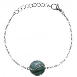 Bracelet en acier - malachite - amazonite - 16+4cm