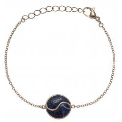 Bracelet en acier rosé - lapis - sodalite - 16+4cm