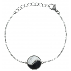 Bracelet en acier - howlite blanche - onyx - 16+4cm