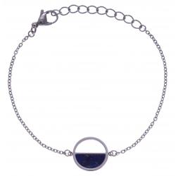 Bracelet en acier - lapis lazuli - diamètre 14mm - 16+4cm