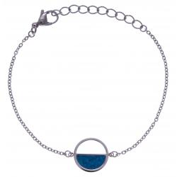Bracelet en acier - chrysocolle - diamètre 14mm - 16+4cm