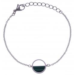 Bracelet en acier - malachite - diamètre 14mm - 16+4cm