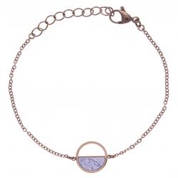 Bracelet en acier rosé - howlite blanche - diamètre 14mm - 16+4cm