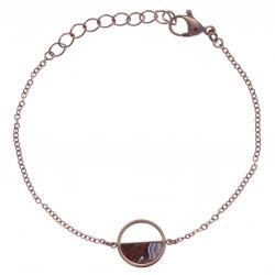 Bracelet en acier rosé - agate crazy lace - diamètre 14mm - 16+4cm