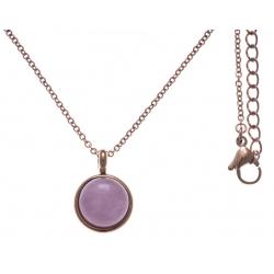 Collier en acier rosé - cabochon quartz rose 14mm - 40+7cm