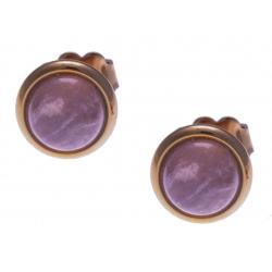 Boucles d'oreille en acier rosé - quartz rose 8mm