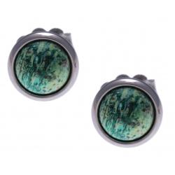 Boucles d'oreille en acier - chrysocolle 8mm