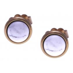 Boucles d'oreille en acier rosé - cabochon howlite blanche 8mm