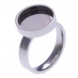 Bague en acier - support pierre interchangeable - diamètre 14mm - Taille 50 à 62