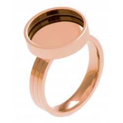 Bague en acier rosé - support pierre interchangeable - diamètre 14mm - Taille 50 à 62