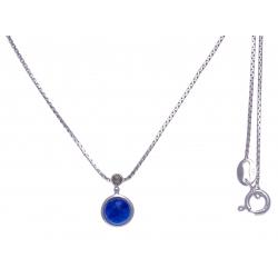Collier argent rhodié 2,7g - lapis - marcassites - 40cm