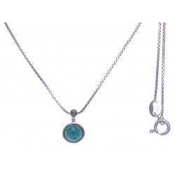 Collier argent rhodié 2,7g - turquoise - marcassites - 40cm
