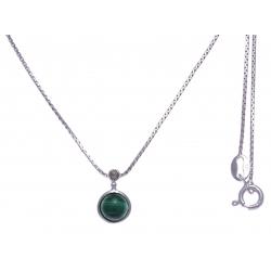 Collier argent rhodié 2,7g - malachite - marcassites - 40cm