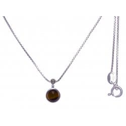 Collier argent rhodié 2,7g - oeill de tigre - marcassites - 40cm