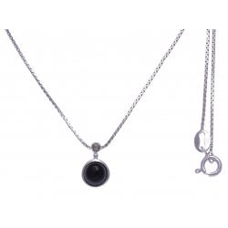 Collier argent rhodié 2,7g - onyx - marcassites - 40cm