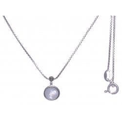 Collier argent rhodié 2,7g - nacre blanche - marcassites - 40cm