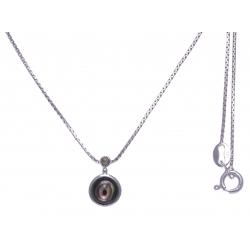 Collier argent rhodié 2,7g - nacre abalone - marcassites - 40cm