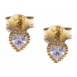 Boucles d'oreille argent doré 0,5g -  zircons - cúurs