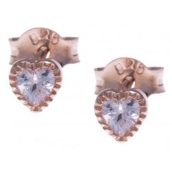 Boucles d'oreille argent rosé 0,5g -  zircons - cúurs