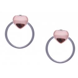 Boucles d'oreille argent 1,2g - 2 tons - rhodiés - rosé - cúurs