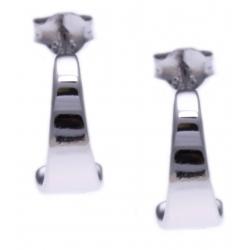 Boucles d'oreille argent rhodié 2,3g - demi-créole - plaine - diamètre 14mm