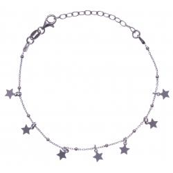 Bracelet argent rhodié 2,5g - pampilles étoiles - 16+4cm