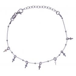 Bracelet argent rhodié 2,3g - pampilles croix - 16+4cm