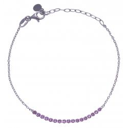 Bracelet argent rhodié 1,9g - petite rivière cristaux de swarovski - couleur : v