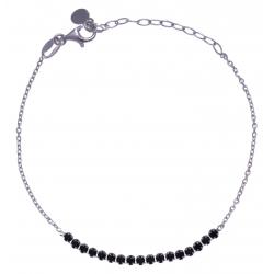 Bracelet argent rhodié 1,9g - petite rivière cristaux de swarovski - couleur : n