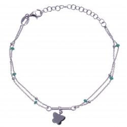 Bracelet argent rhodié 2,5g - 2 fils - papillon - perles vertes - 16+4cm