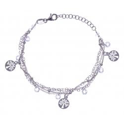 Bracelet argent rhodié 3,8g - multi-fils - pastilles arbre de vie - perles trans