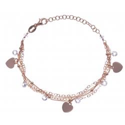 Bracelet argent rosé 3,9g - multi-fils - pastilles cúurs - perles transparentes