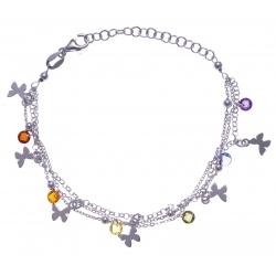 Bracelet argent rhodié 4,2g - multi-fils - pastilles papillons - perles multicol