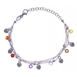 Bracelet argent rhodié 4,1g - multi-fils - pastilles coeurs - perles multicolore