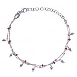 Bracelet argent rhodié 2,8g - 2 fils - perles rouges - 16+4cm