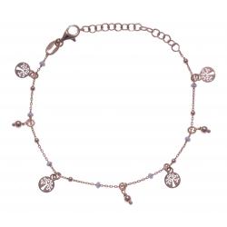 Bracelet argent rosé 2,5g - breloques arbres de vie et gouttes - perles blanches