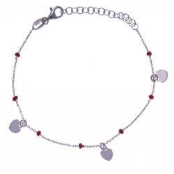 Bracelet argent rhodié 2g - breloques cúurs - perles rouges - 16+4cm