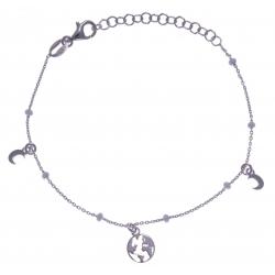 Bracelet argent rhodié 1,8g - breloques lune + planète - perles blanches - 16+4c